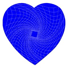 Blue Perspective Grid Distorted Line Plaid Jigsaw Puzzle (heart)