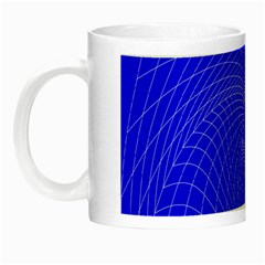 Blue Perspective Grid Distorted Line Plaid Night Luminous Mugs by Alisyart