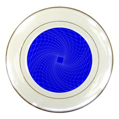Blue Perspective Grid Distorted Line Plaid Porcelain Plates by Alisyart