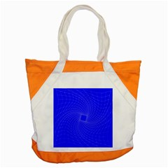 Blue Perspective Grid Distorted Line Plaid Accent Tote Bag by Alisyart