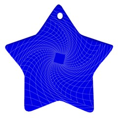 Blue Perspective Grid Distorted Line Plaid Star Ornament (two Sides)