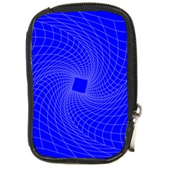 Blue Perspective Grid Distorted Line Plaid Compact Camera Cases by Alisyart