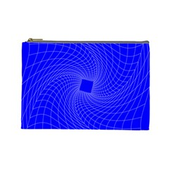 Blue Perspective Grid Distorted Line Plaid Cosmetic Bag (large)  by Alisyart