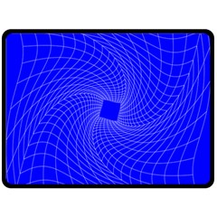Blue Perspective Grid Distorted Line Plaid Fleece Blanket (large)  by Alisyart