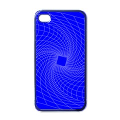 Blue Perspective Grid Distorted Line Plaid Apple Iphone 4 Case (black)