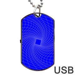 Blue Perspective Grid Distorted Line Plaid Dog Tag Usb Flash (two Sides) by Alisyart