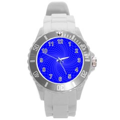 Blue Perspective Grid Distorted Line Plaid Round Plastic Sport Watch (l) by Alisyart