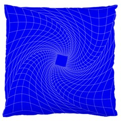 Blue Perspective Grid Distorted Line Plaid Large Cushion Case (two Sides) by Alisyart