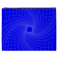 Blue Perspective Grid Distorted Line Plaid Cosmetic Bag (xxxl)