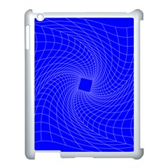 Blue Perspective Grid Distorted Line Plaid Apple Ipad 3/4 Case (white) by Alisyart