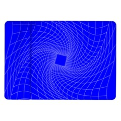 Blue Perspective Grid Distorted Line Plaid Samsung Galaxy Tab 10 1  P7500 Flip Case