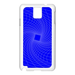 Blue Perspective Grid Distorted Line Plaid Samsung Galaxy Note 3 N9005 Case (white)