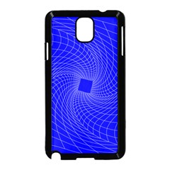 Blue Perspective Grid Distorted Line Plaid Samsung Galaxy Note 3 Neo Hardshell Case (black)