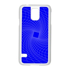 Blue Perspective Grid Distorted Line Plaid Samsung Galaxy S5 Case (white)