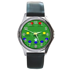 Field Football Positions Round Metal Watch