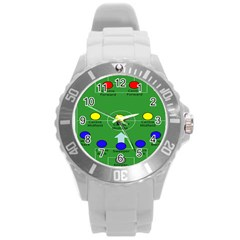 Field Football Positions Round Plastic Sport Watch (l) by Alisyart