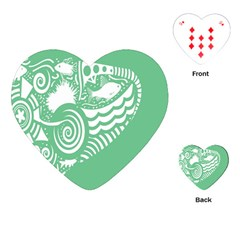 Fish Star Green Playing Cards (heart)