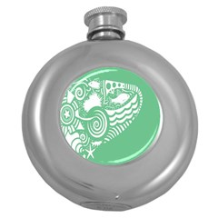 Fish Star Green Round Hip Flask (5 Oz) by Alisyart