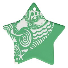 Fish Star Green Star Ornament (two Sides) by Alisyart