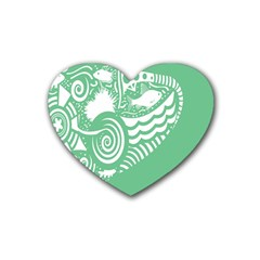 Fish Star Green Heart Coaster (4 Pack)  by Alisyart