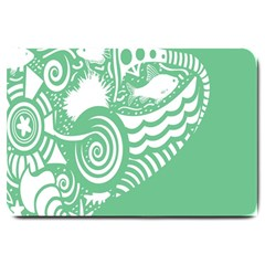 Fish Star Green Large Doormat  by Alisyart