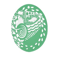 Fish Star Green Oval Filigree Ornament (two Sides)