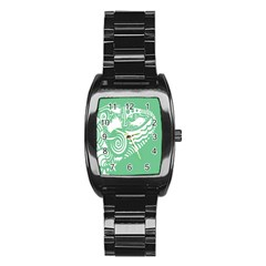 Fish Star Green Stainless Steel Barrel Watch