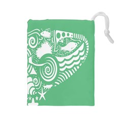 Fish Star Green Drawstring Pouches (large)  by Alisyart