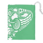 Fish Star Green Drawstring Pouches (XXL) Front