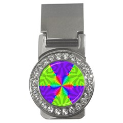 Complex Beauties Color Line Tie Purple Green Light Money Clips (cz)