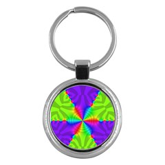 Complex Beauties Color Line Tie Purple Green Light Key Chains (round)  by Alisyart