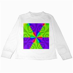 Complex Beauties Color Line Tie Purple Green Light Kids Long Sleeve T Shirts