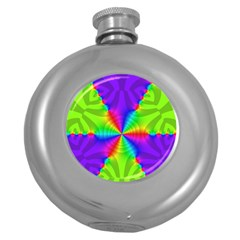 Complex Beauties Color Line Tie Purple Green Light Round Hip Flask (5 Oz)