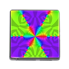 Complex Beauties Color Line Tie Purple Green Light Memory Card Reader (square) by Alisyart