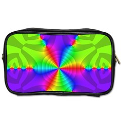 Complex Beauties Color Line Tie Purple Green Light Toiletries Bags 2 Side