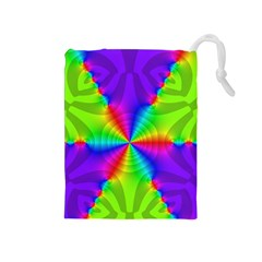 Complex Beauties Color Line Tie Purple Green Light Drawstring Pouches (medium)  by Alisyart