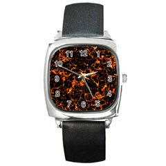 Fiery Ground Square Metal Watch by Alisyart
