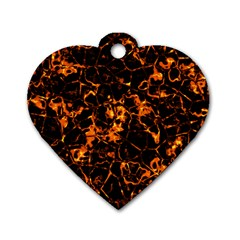 Fiery Ground Dog Tag Heart (two Sides) by Alisyart