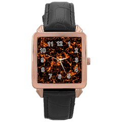 Fiery Ground Rose Gold Leather Watch  by Alisyart