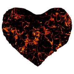 Fiery Ground Large 19  Premium Flano Heart Shape Cushions by Alisyart