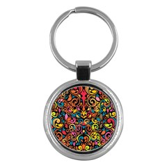Chisel Carving Leaf Flower Color Rainbow Key Chains (round)  by Alisyart