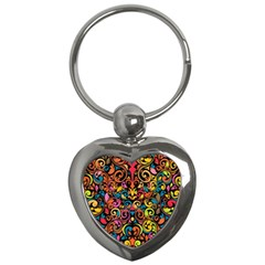 Chisel Carving Leaf Flower Color Rainbow Key Chains (heart)