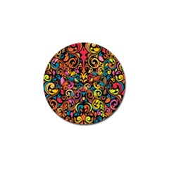 Chisel Carving Leaf Flower Color Rainbow Golf Ball Marker by Alisyart