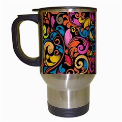 Chisel Carving Leaf Flower Color Rainbow Travel Mugs (white) by Alisyart