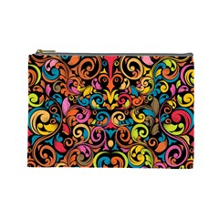Chisel Carving Leaf Flower Color Rainbow Cosmetic Bag (large)  by Alisyart