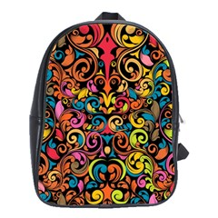 Chisel Carving Leaf Flower Color Rainbow School Bags(large)  by Alisyart