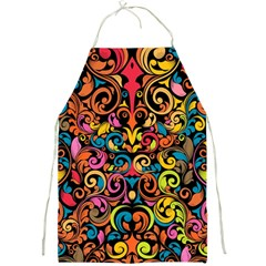 Chisel Carving Leaf Flower Color Rainbow Full Print Aprons by Alisyart