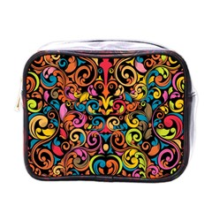 Chisel Carving Leaf Flower Color Rainbow Mini Toiletries Bags