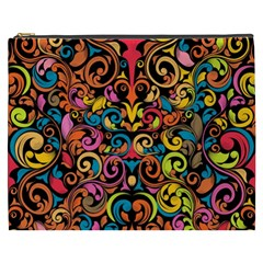 Chisel Carving Leaf Flower Color Rainbow Cosmetic Bag (xxxl)  by Alisyart