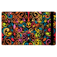 Chisel Carving Leaf Flower Color Rainbow Apple Ipad 2 Flip Case by Alisyart